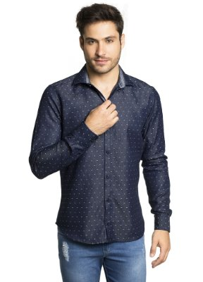 Camisa Slim Fit Jeans Estampada