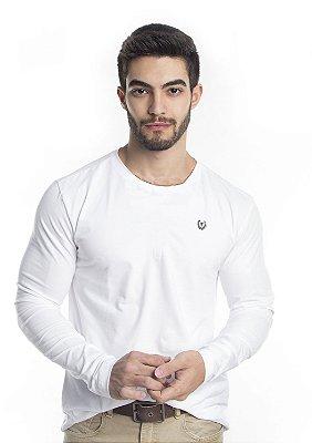 Blusa Masculina Branca Manga Longa Algodão