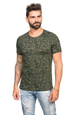 Camiseta Masculina Estampada Verde Militar