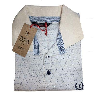 Camisa Polo Masculina de Algodão com Pé de Gola Listrado