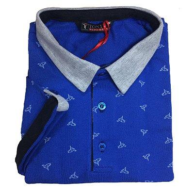 Camisa Polo Piquet Masculina com Estampa de Origami