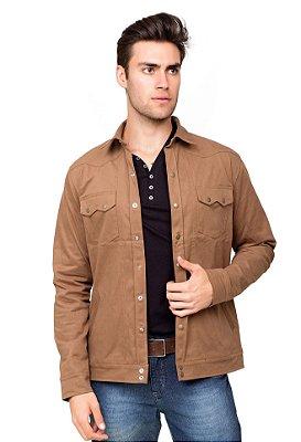 Jaqueta Masculina de Sarja Com Botão de Pressão