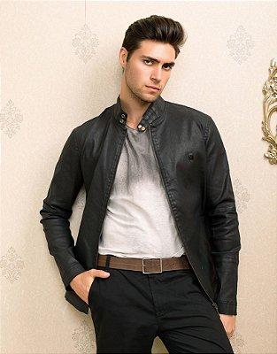 Jaqueta Masculina Preta em Jeans Resinado