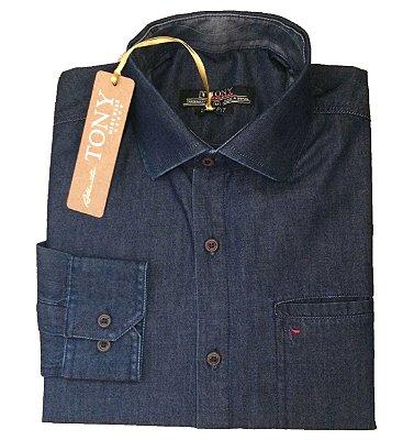 Camisa Slim Fit Jeans com Bolso Embutido