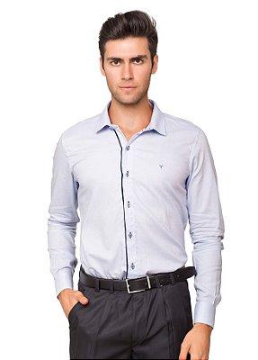 Camisa Social Masculina Slim Fit Azul Clara Algodão Fio 60