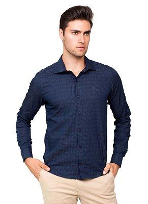 Camisa Social Masculina Slim Maniquetada Algodão