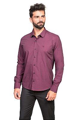 Camisa Social Masculina Maquinetada de Algodão