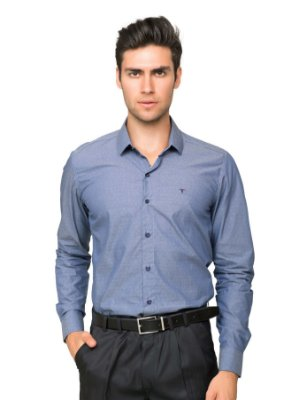 Camisa Social Masculina Maquinetada de Algodão Azul