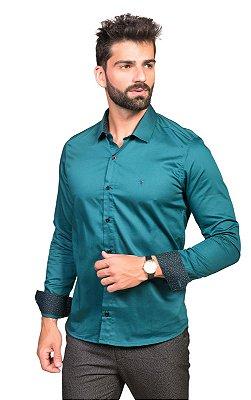Camisa Social Masculina Acetinada com Detalhe Floral Petróleo