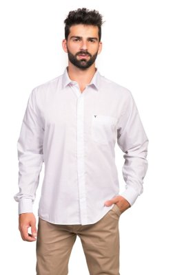 Camisa Tony Menswear Manga Longa Sr Tradicional com Bolso Branca