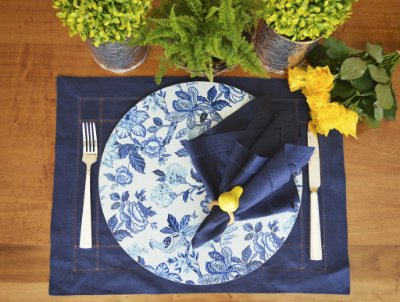 Sousplat Resinado Redondo - Blue Flower