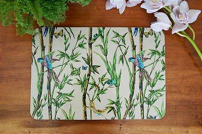 Sousplat Resinado Retangular - Bambu com Pássaro