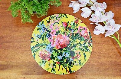 Sousplat Resinado Redondo - Floral
