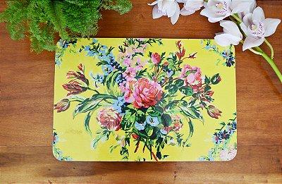 Sousplat Resinado Retangular - Floral