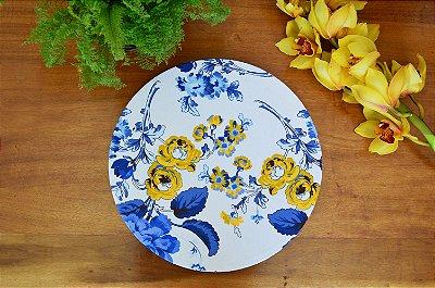 Capa de sousplat Floral Azul e Amarelo