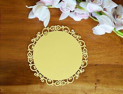 Sousplats Acrilico Espelhado Dourado- G. Dimensão: 32cm