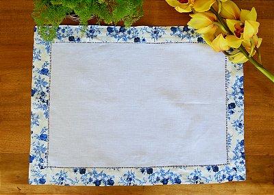 Lugar americano linho floral azul
