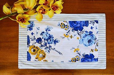 Lugar americano floral com barrado listra azul