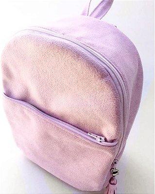 Mini mochila em camurça rosa clara