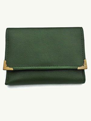 Carteira verde com detalhes em ouro velho