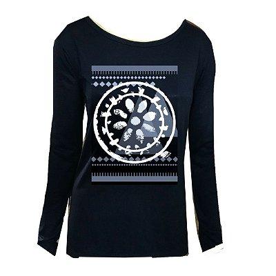 T shirt manga longa Mandala flor