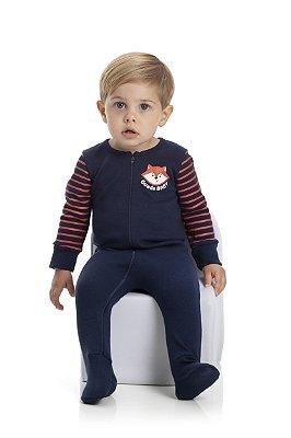 Macacão bebê masculino suedine manga longa com pé