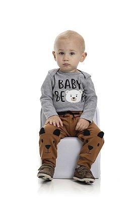 Conjunto bebê calça e body urso