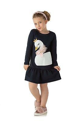 Vestido infantil moletinho cisne