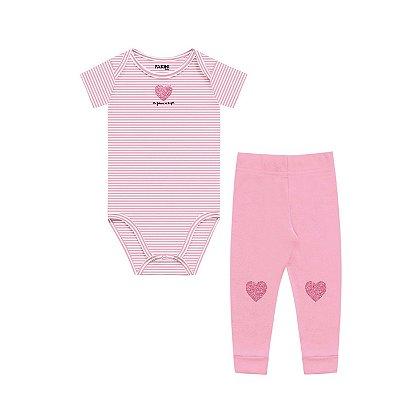 Conjunto body bebê menina coração