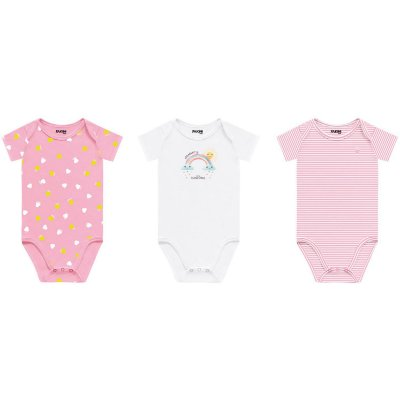 Kit body bebê manga curta menina 3 peças