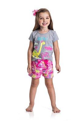 Pijama dinossauro infantil feminino