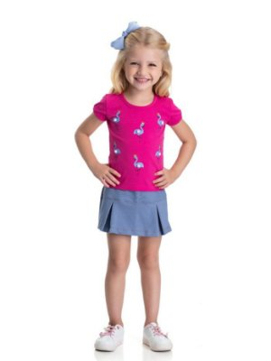 Conjunto infantil feminino flamingos com short-saia