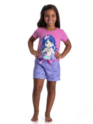 Conjunto pijama infantil sereia curto