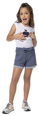 Conjunto infantil menina verão com short jeans