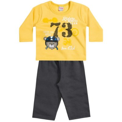 Conjunto moletom 73 born to ride amarelo/chumbo