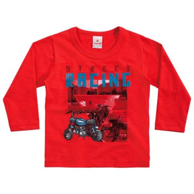 Camiseta bebê menino moto vermelha