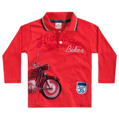 Camiseta polo ML highway biker vermelha