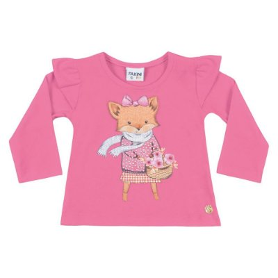Blusa ML raposinha rosa