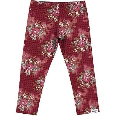 Legging floral vermelho