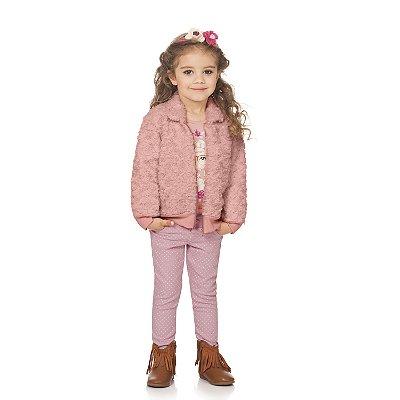 Calça sarja rosa poá
