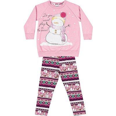 Conjunto moletom boneco de neve rosa