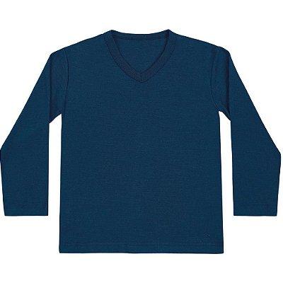 Camiseta Infantil ML básica azul marinho