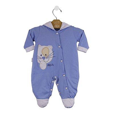Macacão ML gatinho azul/branco