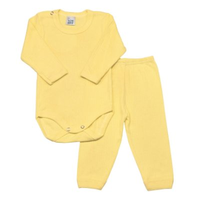 Conjunto básico ML body e calça amarelo
