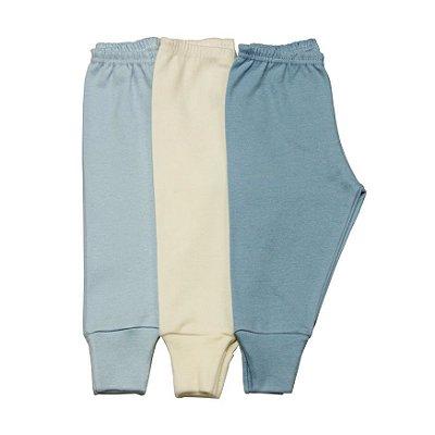 Kit 3 calças pé reversível básica azul/creme