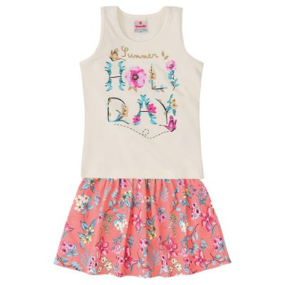 Conjunto infantil saia-shorts holiday