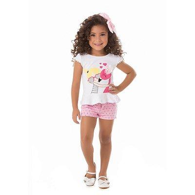 Camiseta infantil boneca flamingo