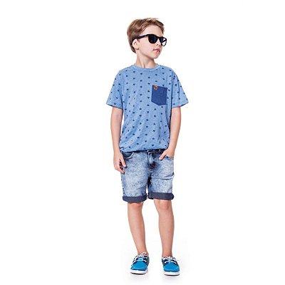 Camiseta  infantil coqueiros azul