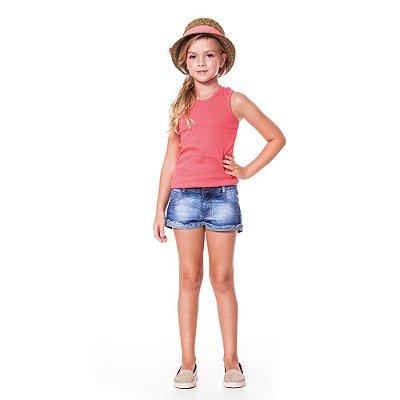 Shorts infantil jeans barra virada