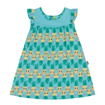 Vestido infantil abacaxi azul